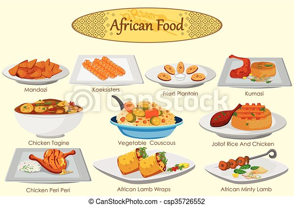 Collection of delicious african food in vector clipart for African continental cuisine