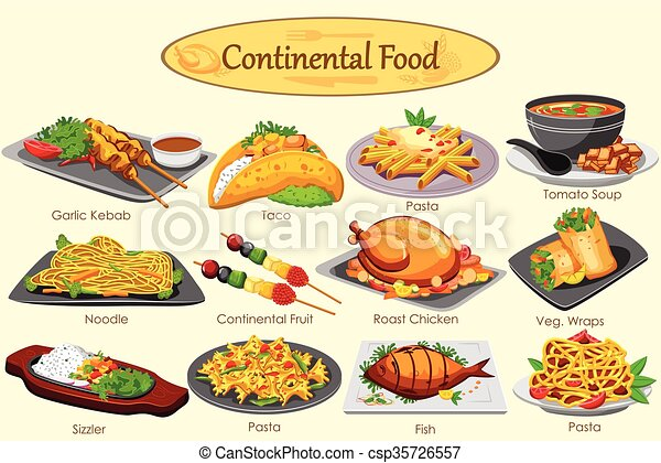 Collection of delicious continental food in vector clipart for African continental cuisine