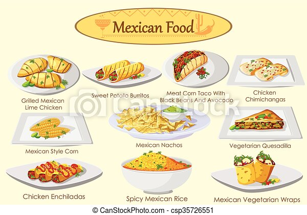 collection of delicious mexican food in vector clipart vector