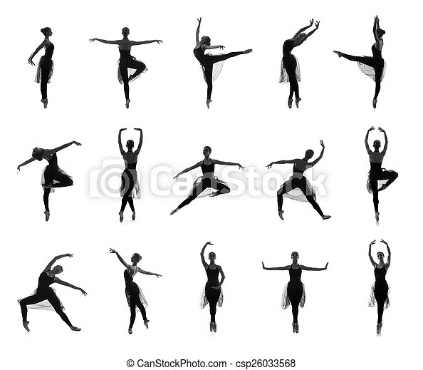 Collection Of Different Ballet Poses Black And White Silhouettes Isolated On White