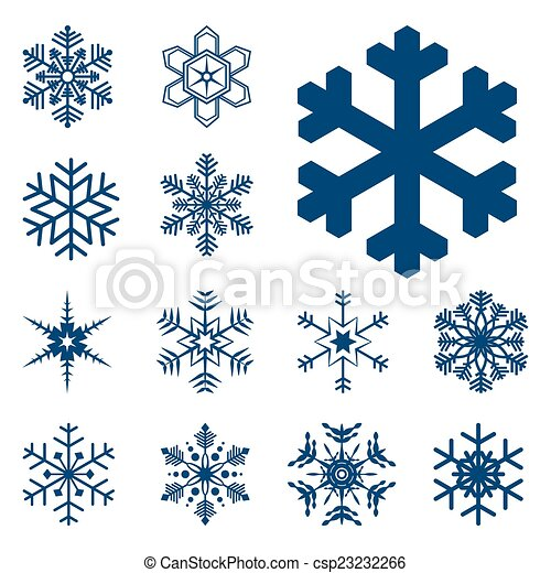 collection of different blue snowflakes - csp23232266