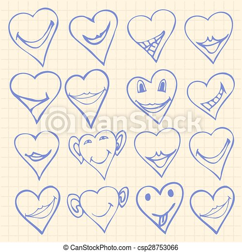 Collection Of Different Heart Symbols Doodle Different Emotions On