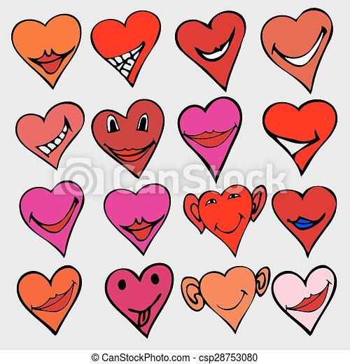 Collection Of Different Heart Symbols Doodle Different Emotions