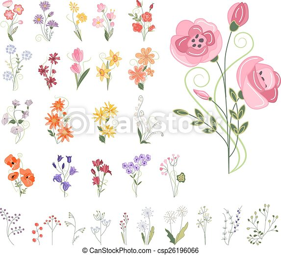 Collection of different stylized flowers - csp26196066