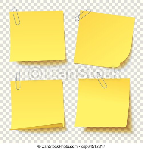 Collection of different yellow sticker with paper clip attached - csp64512317