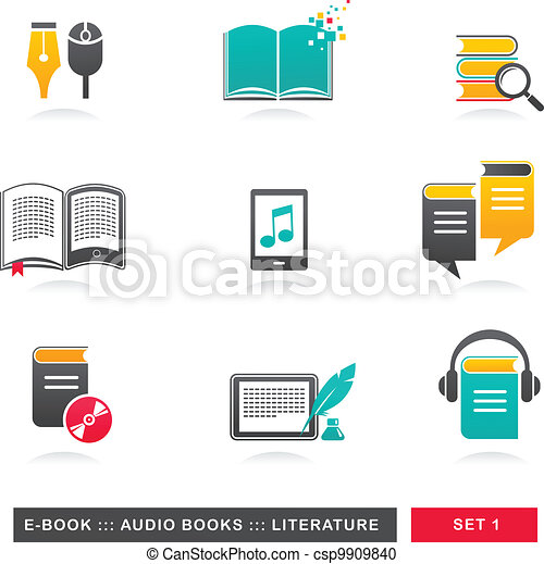 collection of E-book, audiobook and literature icons - 1 - csp9909840