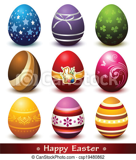 Collection of Easter Eggs - csp19480862