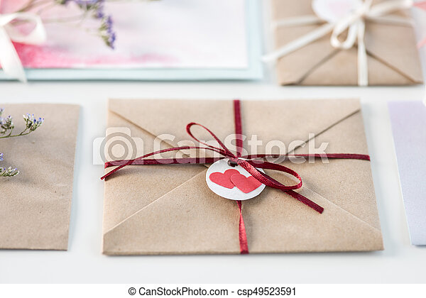 Collection Of Envelopes Or Invitations Isolated On White Wedding Invitation Card Design Concept