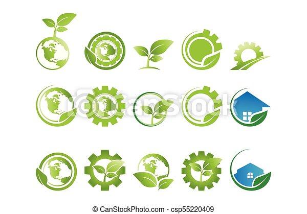 Collection Of Environment Go Green Logo Template