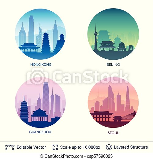 Collection of famous city scapes. - csp57596025