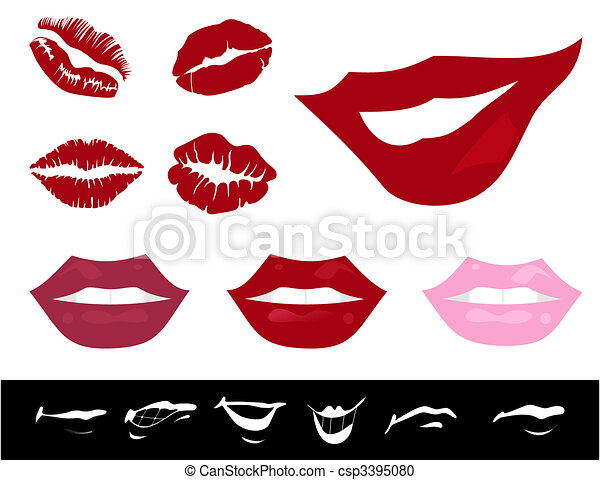Collection of female lips of the different form. A vector illustration - csp3395080