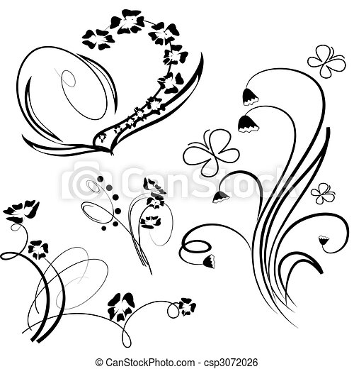 Collection of floral design element - csp3072026
