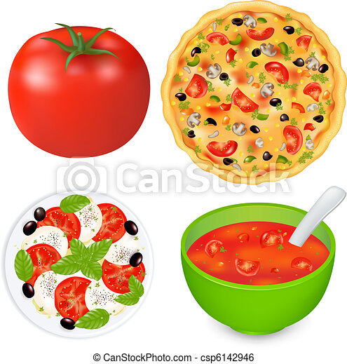 Collection Of Food Dishes With Tomatoes - csp6142946
