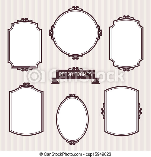 Collection of frames in retro style - csp15949623