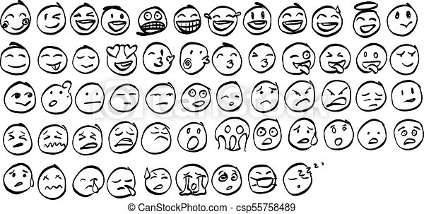 Collection Of Freehand Doodle Emoji Emoticons Vector Il Ration Sketch Hand Drawn With Black Lines