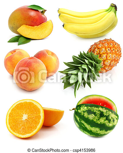collection of fresh fruit isolated - csp4153986