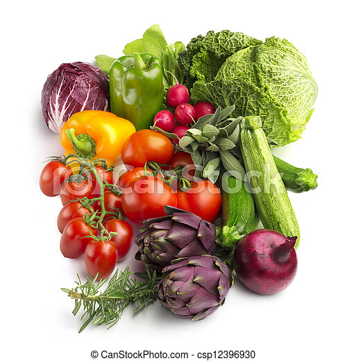 collection of fresh vegetables isolated on white background - csp12396930