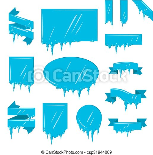 Collection of frozen icicle snow winter banners set - csp31944009