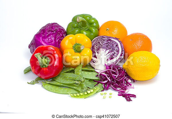 collection of fruits and vegetables for healthy life on white background - csp41072507