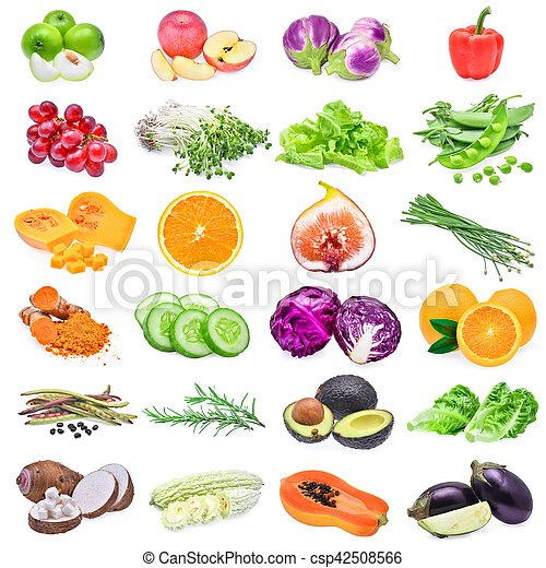 collection of fruits and vegetables isolated on white background - csp42508566