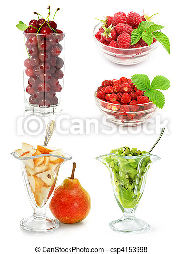 collection of fruits isolated on white - csp4153998