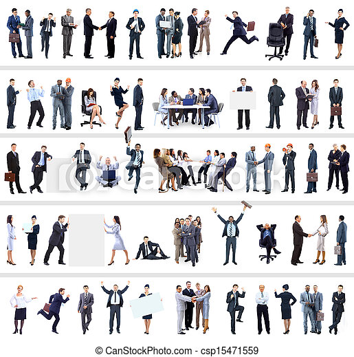 collection of full length portraits of business people - csp15471559