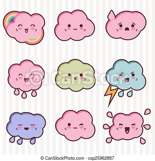 Collection of funny and cute happy kawaii clouds - csp25962887