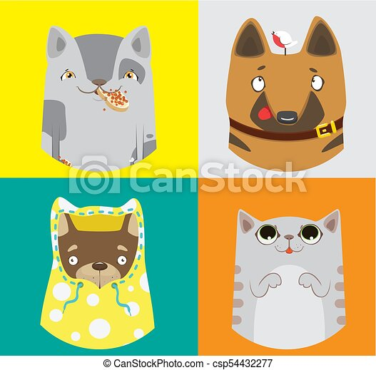 Collection of funny dogs and cats. Vector colorful pattern. - csp54432277