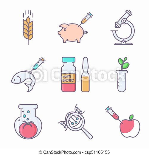 collection of genetic modification icons gmo genetic engineering