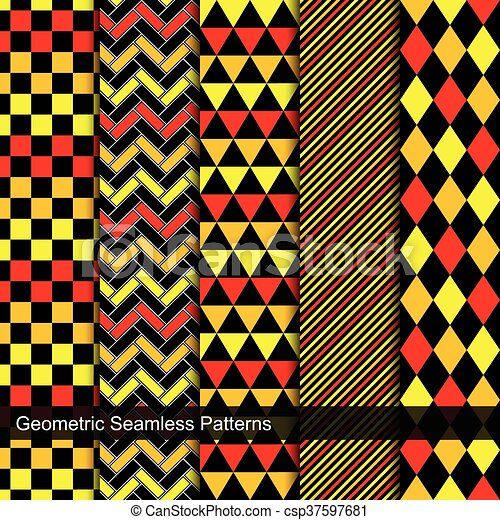 Collection of geometric seamless patterns. - csp37597681