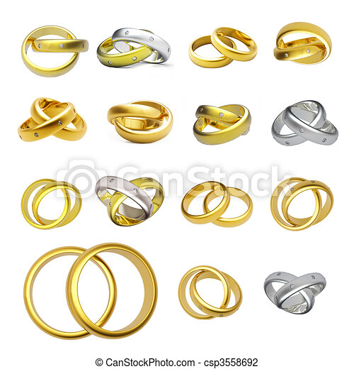 Collection of gold wedding rings isolated on white clip art