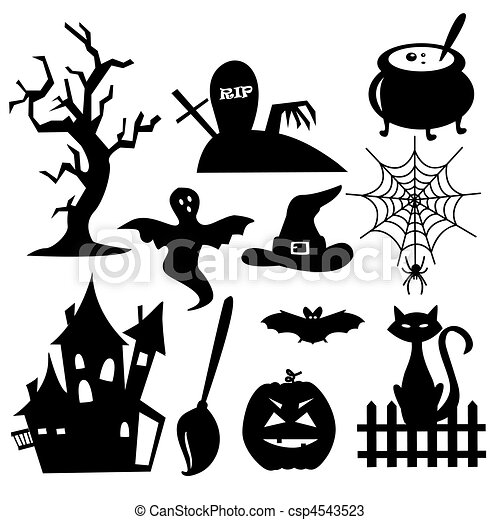 collection of halloween elements csp4543523 - Halloween Line Drawings