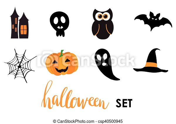 Collection of halloween stickers for your design - csp40500945
