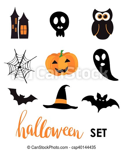 Collection of halloween stickers for your design - csp40144435
