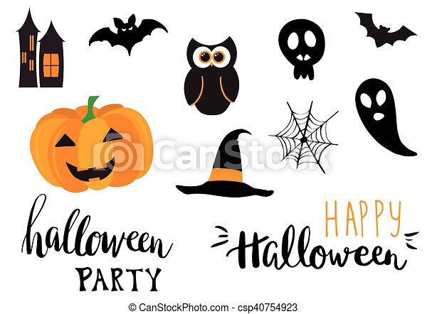 Collection of halloween stickers for your design - csp40754923