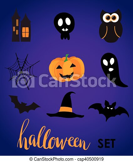Collection of halloween stickers for your design - csp40500919