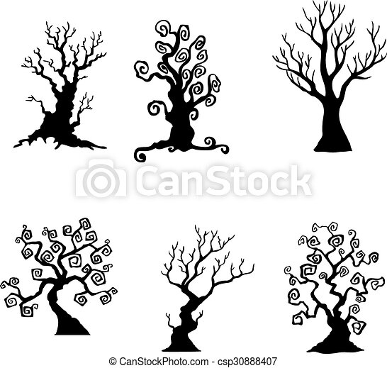 collection of halloween trees csp30888407