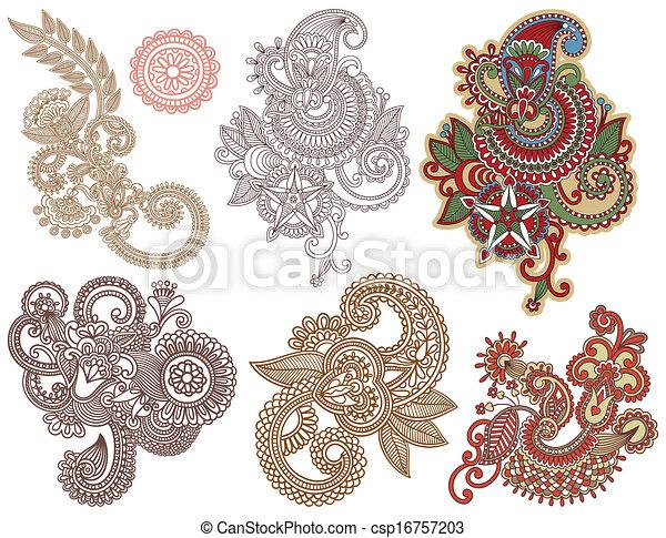 Line Art Flower Design : Collection of hand draw line art ornate flower design vector