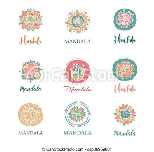 collection of hand drawn mandalas, shapes and symbols - csp36959861