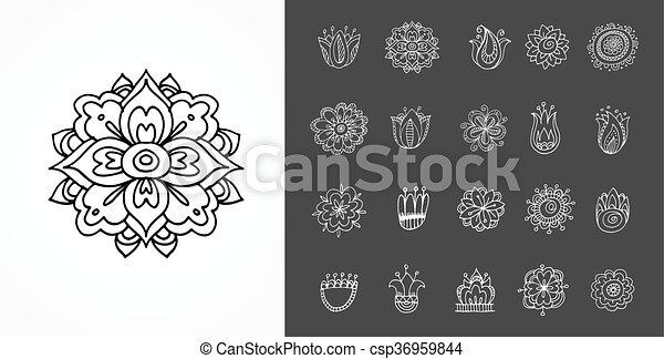 collection of hand drawn mandalas, shapes and symbols - csp36959844