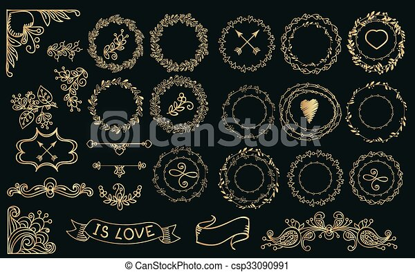 Collection of handdrawn gold laurels and wreaths. - csp33090991