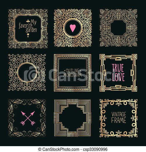 Collection of handdrawn gold laurels and wreaths. - csp33090996