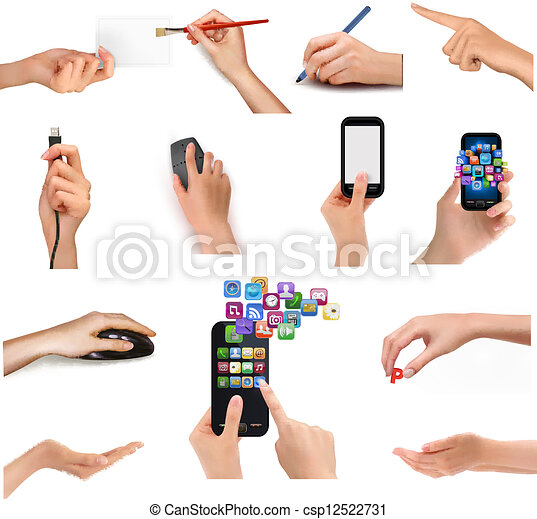 Collection of hands holding different business objects. Vector illustration - csp12522731