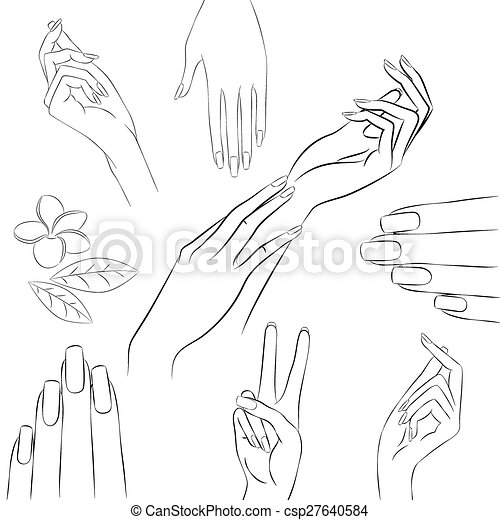 collection of hands in various gestures manicure and beauty con
