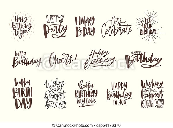 Collection Of Handwritten Birthday Wishes Isolated On White Background Bundle Elegant Festive