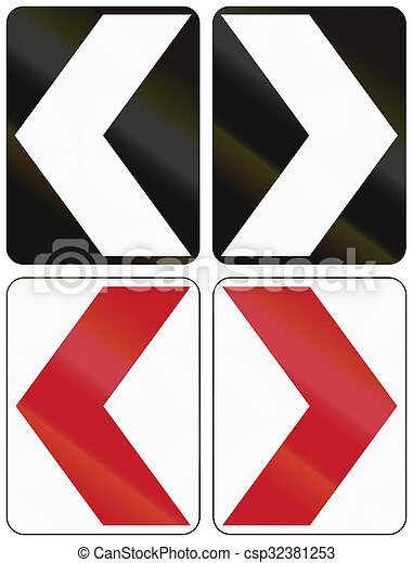 Collection of hazard marking chevron road signs in the Philippines