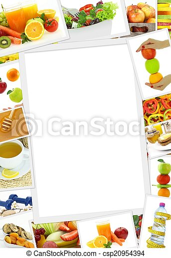 Collection of healthy food photos with copy space - csp20954394