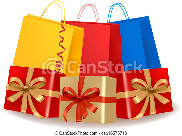 Collection of holiday shopping bags and gift boxes with sale label. Concept of christmas shopping. Vector. - csp16575718