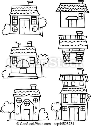 Collection of house set hand draw - csp44528784