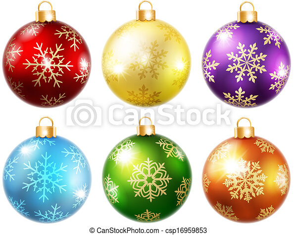 Collection of isolated christmas balls - csp16959853